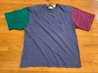 Vintage Paris Sport Club Color Block T Shirt Shoulder Pads 80s Womens Size Large