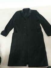Bailey men's Overcoat - Black/charcoal Pinstripe & Nappa leather collar. Large.