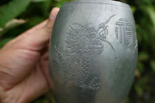 Antique Chinese Pewter Engraved 2 Dragons Cup - Marks