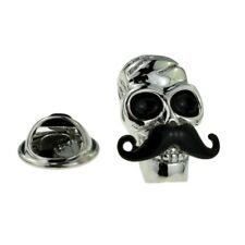 Skull with Moustache Lapel Pin Badge X2AJTP874