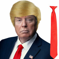 Blonde USA President Halloween Donald Trump Fancy Dress Wig & Red Tie Set