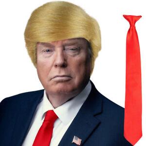 Blonde USA President Donald Trump Fancy Dress Wig, Red Tie & Pin Badge Set