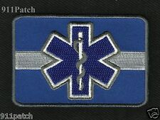 Thin White Line Blue Star of Life EMS Paramedic Patch - Iron On