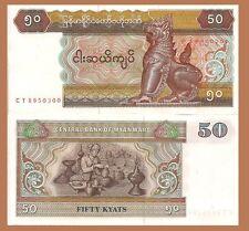 Myanmar Burma P73b, 50 Kyat, chinze / lacuerware worker w/bowl, plate, urns  UNC