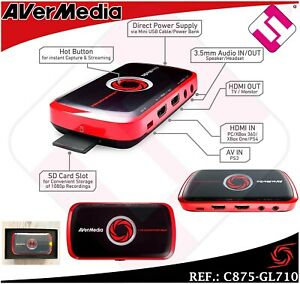 Capture Video HD 1080 Record Gaming AVerMedia Laptop Games Black Red