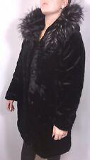 Black Faux Fur Coat Faux Fur Hood Luxurious Soft Lined Plus Size 16 18 20 NEW