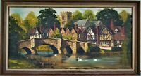 Vintage Signed Oil Painting Malcolm Gearing English Village Landscape on Canvas