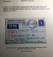 1943 England Prisoner Of War Air Letter POW Cover To Internment Camp Germany