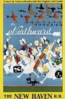 """Vintage Illustrated Travel Poster CANVAS PRINT New haven train North 24""""X18"""""""