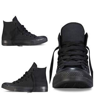 Scarpe tela donna uomo nero alte lacci comode sneakers sportive calzano strette