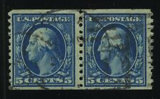 US, Scott 447  Coil Pair 5 cent Blue Used