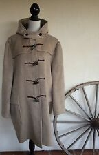 GLOVERALL Tan Wool Duffle Leather Toggle Coat Jacket Vintage Made In England 4
