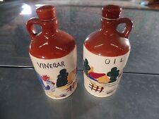 Vintage Oil & Vinegar Porcelain Cruet Set with Roosters
