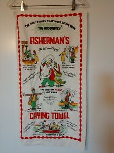 """Vintage 15""""x29"""" Linen Fisherman's Crying Towel - Great Colors!"""
