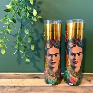 Gold Frida Kahlo Tall Glass Candle Pot - Green or Red Wax