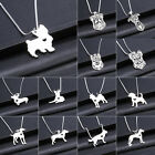 Silver Dog Puppy Pendant Necklace Chain Bulldog Dachshund Shepherd Charm New 3D