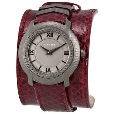 Versace DV25 Grey Dial Burgundy Leather Women's Swiss Watch VAM070016