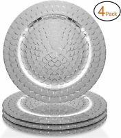 "American Atelier Snake Round PP 13"" Charger Plate Wedding, Silver, SET OF 4"