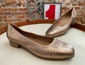 Clarks Metallic Perforated Leather Pumps Juliet Cedar New Loafer Ballet