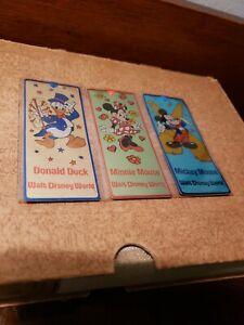 Walt Disney World Minnie Donald Mickey Mouse Metal Bookmarks Set of 3 w/sleeve