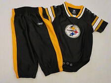 Reebok NFL Steelers 2 pc set Black & Gold Jersey Creeper & Pants Infant 12 month