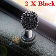 Rhinestone 2Pcs Black Universal Car Interior Door Lock Knob Pull Pin Accessories