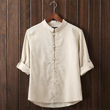 Vintage Mens Plain Hemp Collarless Shirt Full Sleeved Tops Chinese Style Blouse Beige CH XL M