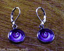 LTV Creation Earring Pair Lever Back Skull Eyes Purple Silver Tone Metal