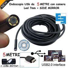 ENDOSCOPIO TELECAMERA ENDOSCOPICA USB 2.0 SMARTPHONE IMPERMEABILE SONDA 5 METRI