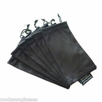6 PCS Eyeglass Sunglass Microfiber Soft Drawstring Cloth Bag Pouch Case BLACK