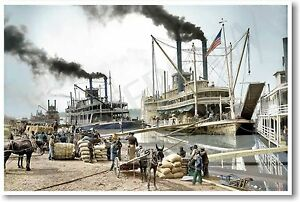 Unloading a Steamboat on the Mississippi 1907 - NEW Vintage Photograph POSTER