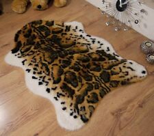 Snow Leopard Animal Print Faux Fur Sheepskin Single Rug 70 x 100cm