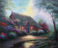 Quality Hand Painted Oil Painting Moonlight Cottage 20x24in