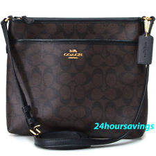 NEW COACH SIGNATURE FILE BAG CROSSBODY SLING PURSE IN BROWN/BLACK 29210 $225