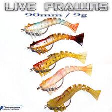 5x Live Prawns Unweighted Shrimp Soft Plastic 90mm 9g Fishing Lures BREAM Jigs
