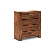 Phillipe Solid Acacia Oak Timber Reclaimed Wood Style 4 Drawer Tallboy Chest