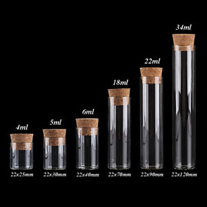 100pcs Transparent Glass Test Tube with Cork Stopper Spice Bottle 5 sizes U-pick