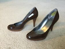 "Marc Fisher - 8 Med - Brown Patent Leather 4"" Wooden Heel STILETTOS"