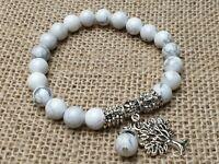 Howlith Edelstein Armband Perlen elastisch Stretch Baum des Lebens Ø 8 mm