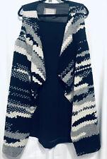 Anthropologie Guest Editor Oversized Sweater Vest Size L Aztec Boho Wool Black
