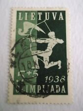 1938 Lithuania 1st National Olympic Fund 5c + 5c Dark Green used Mi.421, T51