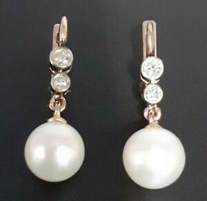 Vintage Rose Gold Diamond Pearl Earrings