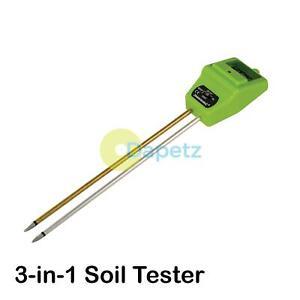 3In 1 Digital Soil PH Tester Water Moisture Light Test Meter Garden Plant Flower
