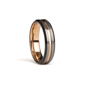 Tungsten Carbide Ring Rose Gold Gunmetal Brushed Wedding Band Ring Men Jewelry
