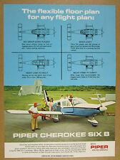 1969 Piper Cherokee Six B airplane photo 4 floor plans vintage print Ad