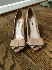 Miu Miu Patent Leather Peep Toe Bow Pumps Nude Size 37