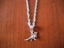 collier chaine argenté 46 cm avec pendentif dinosaure 13x22 mm