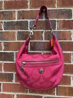 COACH Nylon Fuchsia Pink Logo Monogram F14873 A1093 Sholder Hobo Handbag Purse
