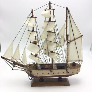 "Wood SHIP MODEL Sailboat Boat Nautical Ocean Sailing Decor Beach 13"" x 13"""