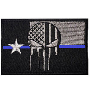 TEXAS THIN BLUE LINE POLICE PUNISHER SKULL PATCH SWAT TACITCAL HOOK BADGE